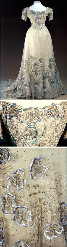 Evening gown, Nadezhda Lamanova, Moscow, early 1900s. White satin with tulle and chiffon, sequins, and embroidery. Silver brocade belt. Made for Empress Alexandra. ziggyibruni/LiveJournal