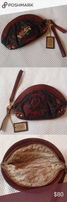 ‼️LAST PRICE ‼️ED. HARDY CLUTCH. Beautiful authentic Ed Hardy clutch from the Design Collection. 10 X 7 inches. Ed Hardy Bags Clutches & Wristlets