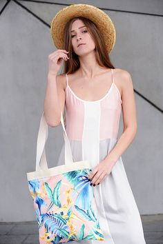 Tropical print tote bag, canvas beach bag, cotton shoulder bag, colorful floral print bag, gift under 50, summer totes, vegan bag, for women