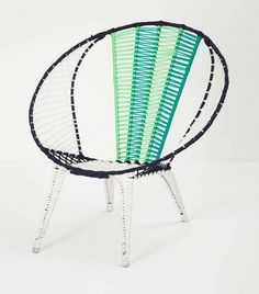 Green Colour Blocked Basket Chair, Anthropologie
