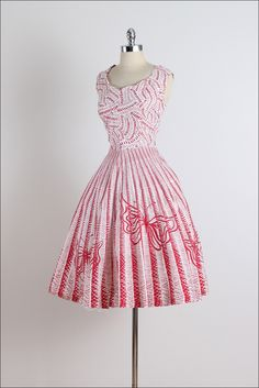 1950s Red Butterfly Cotton Dress with a side zip. Designer unkown
