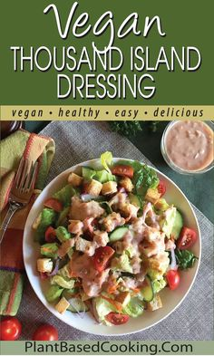 This tasty vegan Thousand Island Dressing is sure to hit the spot. Tofu adds creaminess and protein that most dressings don't. I think you'll love it. Make about 1/2 cup of dressing. #WFPB #VEGAN #PLANTBASED Whole Food Recipes, Vegan Recipes, Thousand Island Dressing, Thousand Islands, Tofu, Tasty, Healthy, Vegane Rezepte, Health