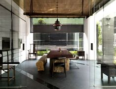 Office Interior Created by Mole design #glass and love this table w bench!