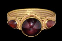 Byzantine Gold and Garnet Ring, 9th-12th Century AD