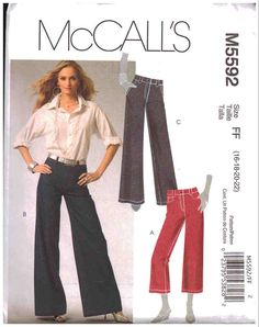 McCall's Sewing Pattern M5592 Misses' Pants in two lengths Size: FF 16-18-20-22 UNCUT