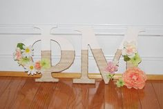 Burlap Wrapped Flower Sorority Letters