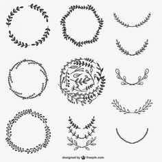 Hand Drawn Frames & Wreaths by freepik ♥ Bujo Doodles, Bullet Journal Inspiration, Design Elements, Vector Free, Graffiti, How To Draw Hands, Creations, Nerd, Images