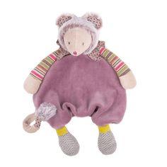 #Doudou Souris parme Les Pachats, une création originale Moulin Roty Nouveau personnage de la collection, petite souris en velours parme déclinée en doudou plat. #doudousourisparmelespachats #doudousouris #lespachats