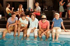 "Harry, Liam, Louis, Zayn: ""Damn, we are so sexy""  Niall: ""yay! pool!"""