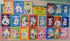 Panthers Palette: Grade: Cows inspired by Peter Diem 3rd Grade Art, Second Grade, Elementary Art Rooms, Animal Art Projects, Artist Project, Art Basics, Kindergarten Art, Preschool, Cow Art