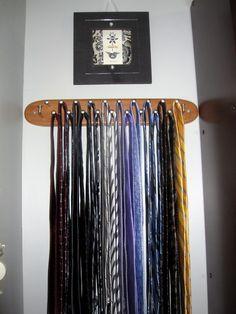 Vintage MODERNIST Wood Brass Hanging Revolving 24 Peg Belt TIE