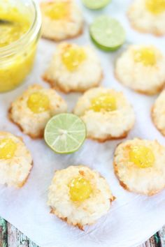 key lime curd macaroon thumbprints