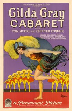 """hollyhocksandtulips:  Cabaret film poster, 1927  My favourite Gilda Gray number will always be """"You can't make your shimmy shake..."""