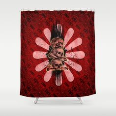 The skulls Shower Curtain by Skull Shower Curtain, Shower Curtains, Button Hole, Wash N Dry, Curtain Rods, Hooks, Artists, Printed, Usa