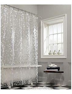 Fun Bubbles Vinyl Shower Curtain Silver Bathroom White Master Curtains