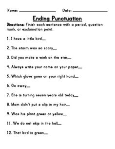 Worksheet Punctuation Worksheets For 2nd Grade a well ray ban aviator and charts on pinterest