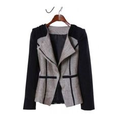 Grey Black Lapel Long Sleeve Pockets Coat (1.335 RUB) found on Polyvore