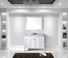 """View the Virtu USA ES-40048 Tiffany 48"""" Free Standing Vanity Set with Oak Cabinet, Marble Top, 1 Undermount Sink and 1 Mirror at Build.com."""