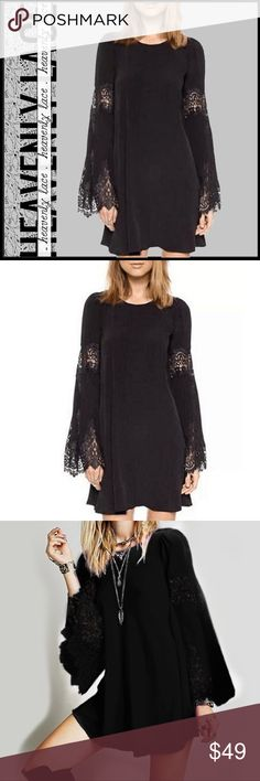 Black Heavenly Lace Tunic/Mini Dress Black Heavenly Lace Tunic/Mini Dress; roomy fit piece that can be either a mini dress or tunic; lace on end of sleeves and lace insets on arm; polyester/spandex blend fabric allows for some stretch; see size chart for proper fir (measurements are approximate); great quality. Boutique Dresses