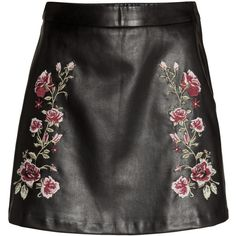Embroidered Skirt $34.99 ($35) ❤ liked on Polyvore featuring skirts, faux leather skirt, rose skirt, embroidered skirt and vegan leather skirt
