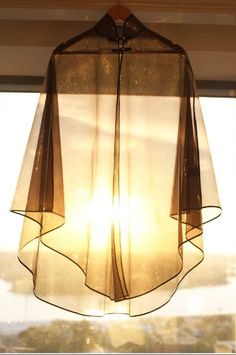 Golden light through sheer fabric— idea for stain glass window wall hanging See Through Clothes, Rain Cape, Fashion Lighting, Shades Of White, Sheer Fabrics, Pantone Color, Natural Light, Glow, Ceiling Lights