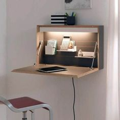 9 Desk Ideas Perfect for Small Spaces- 9 Desk Ideas Perfect for Small Spaces Super Creative floating desk height just on homesable home design - Space Saving Desk, Space Saving Furniture, Diy Furniture, Furniture Design, Folding Furniture, Desk Space, Small Furniture, Furniture Stores, Space Saving Ideas For Home