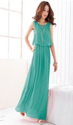 This is a most popular long dress, casual and graceful with chiffon material. The tunic design makes you look slim. It is sleeveless and fully lined. It is suitable for this season. The material is chiffon and polyester which gives you comfortable feeling. Brand New with Tag.  The accessaries are not included.