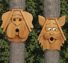Cat & Dog Birdhouse Plans - Woodcraft Patterns.  These make great gifts or build and sell for Craft Sale Money Makers! Birds Love them!  Full sized trace and cut Woodcraft Patterns