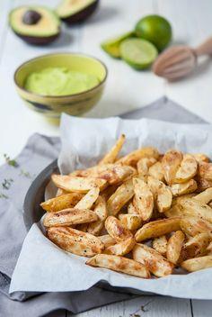 potato wedges with avocado wasabi dip