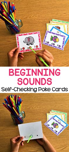 Beginning Sound Activity - Poke Cards Early Literacy, Kindergarten Classroom, Kindergarten Activities, Classroom Ideas, Alphabet Activities, Literacy Activities, Math Resources, Literacy Centers, Abc Phonics