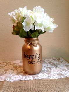 Happily Ever After Gold Mason Jar Vase Hand by STITCHandCABOODLE, $16.00