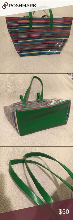 Clear striped bag Clear striped bag heavy plastic beautiful green leather straps and green leather bottom. Care instruction tag inside. Never carried. Like new condition! Jo & Jo Australia Bags Totes