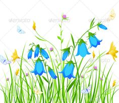 Background with Blue and Yellow Flowers