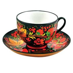 Khokhloma Porcelain Coffee Cup & Saucer    FromRussia.com