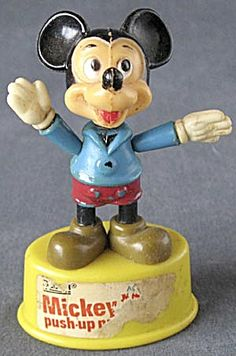 Vintage Mickey Mouse Push Up Puppet (Mickey Mouse & Friends) at Silversnow Antiques and Vintage Mickey Mouse, Mickey Mouse And Friends, Mickey Minnie Mouse, Vintage Disney, Antique Toys, Vintage Toys, Puppets, Minions, Push Up