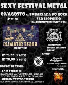 Pela primeira vez as bandas argentinas Climatic Terra  e Against  em São Leopoldo  - Ingressos aqui na Zeppelin