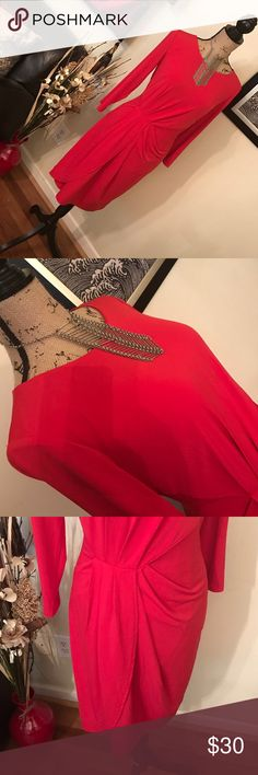 MUSE stretch fabric dress Candy apple red mock sash front dress is sizzling hot!   With the tan or black LOUBOUTIN's that I have listed under other posts, you will steal the night away! Muse Refined Dresses Midi