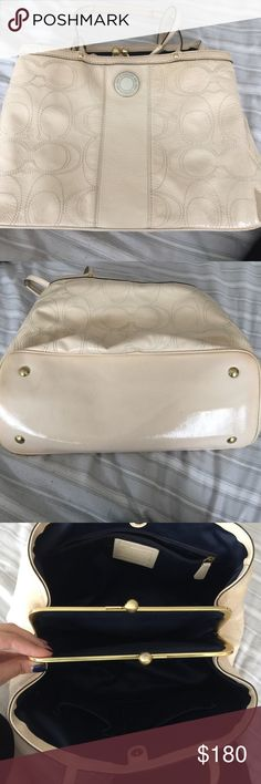 Coach bag Large cream colored patent leather signature coach bag. Bag has very small spots of wear on the bottom of the bag. The inside is perfectly clean. Gorgeous sapphire blue interior. Clasp closure for middle pocket. Clasp has some wear. Zippered inside pocket. 2 large snap sections on each side. This is an amazing bag!! Coach Bags Shoulder Bags