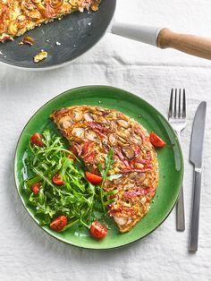 Omelett mit gekochtem Schinken und Champignons