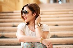 Blame it on Mei Miami Fashion Blogger 2016 Spring Look Summer Casual Outfit The Biltmore Hotel in Coral Gables Biltmore Culinary Academy featuring Parmigiano Reggiano Cream Valentino Rockstud Flats Cat Eye Sunglasses How to Wear Printed pants for a casual occasion How to add color to an outfit