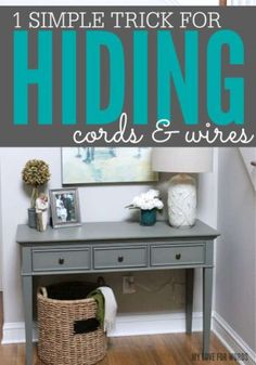Super simple and inexpensive trick for hiding ugly cords and wires. Super simple and inexpensive trick for hiding ugly cords and wires. Idee Diy, Organization Hacks, Organizing Ideas, Getting Organized, Decorating Tips, Tricks, Home Projects, Just In Case, Diy Home Decor