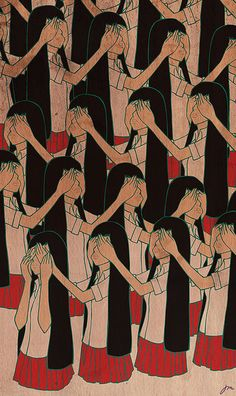 Repetition of Chinese Girl Covering Her Eyes, Illustration, Poster Art.