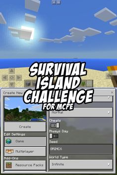 This is about as hard as survival islands seeds get for MCPE. Good Luck! Seed:GRIMCX