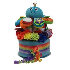 Neutral unisex nappy cake boy girl baby shower gift Lamaze octopus rainbow