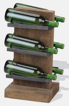 Love this rustic wine rack
