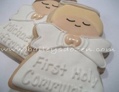 Baptism Favors | Praying Angel Cookies | Baby Christening | Baby Baptism |  Communion Favors  | Cust Boy Communion Cake, Communion Party Favors, Baptism Favors, First Holy Communion, Cookie Favors, Cookie Gifts, Angel Cookies, Sugar Cookies, Logo Cookies