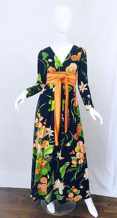 322fad45da 1stdibs Evening Gown - 1970S Ronald Kolodzie Navy Blue Green Long Sleeve Vintage  70S Maxi