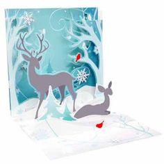 Winter Deer Pop Up Christmas Card. Reindeer = Love