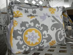 Gray Diaper Bag  with Top Zipper Closure by CHICBAZAR on Etsy, $130.00...Love the pattern, hate the price