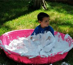 shaving cream pool--For a relay race?  Hide things in it, each runner has to retrieve the correct one?